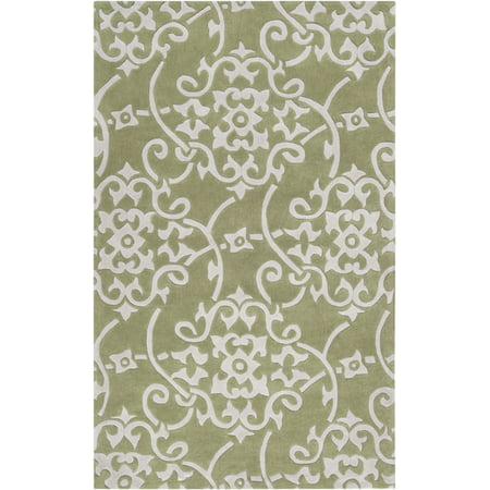 3.5' x 5.5' Damask Vines Light Olive Green & White Hand Tufted Area Throw Rug