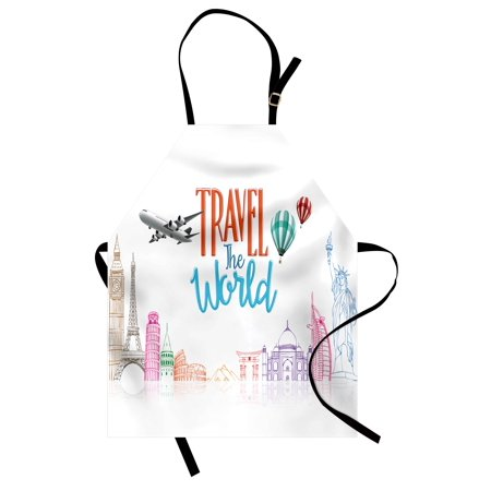 Quote Apron Travel The World Lettering with Around World Landmarks Balloons Work of Art Image, Unisex Kitchen Bib Apron with Adjustable Neck for Cooking Baking Gardening, Multicolor, by Ambesonne (Landmarks Around The World)