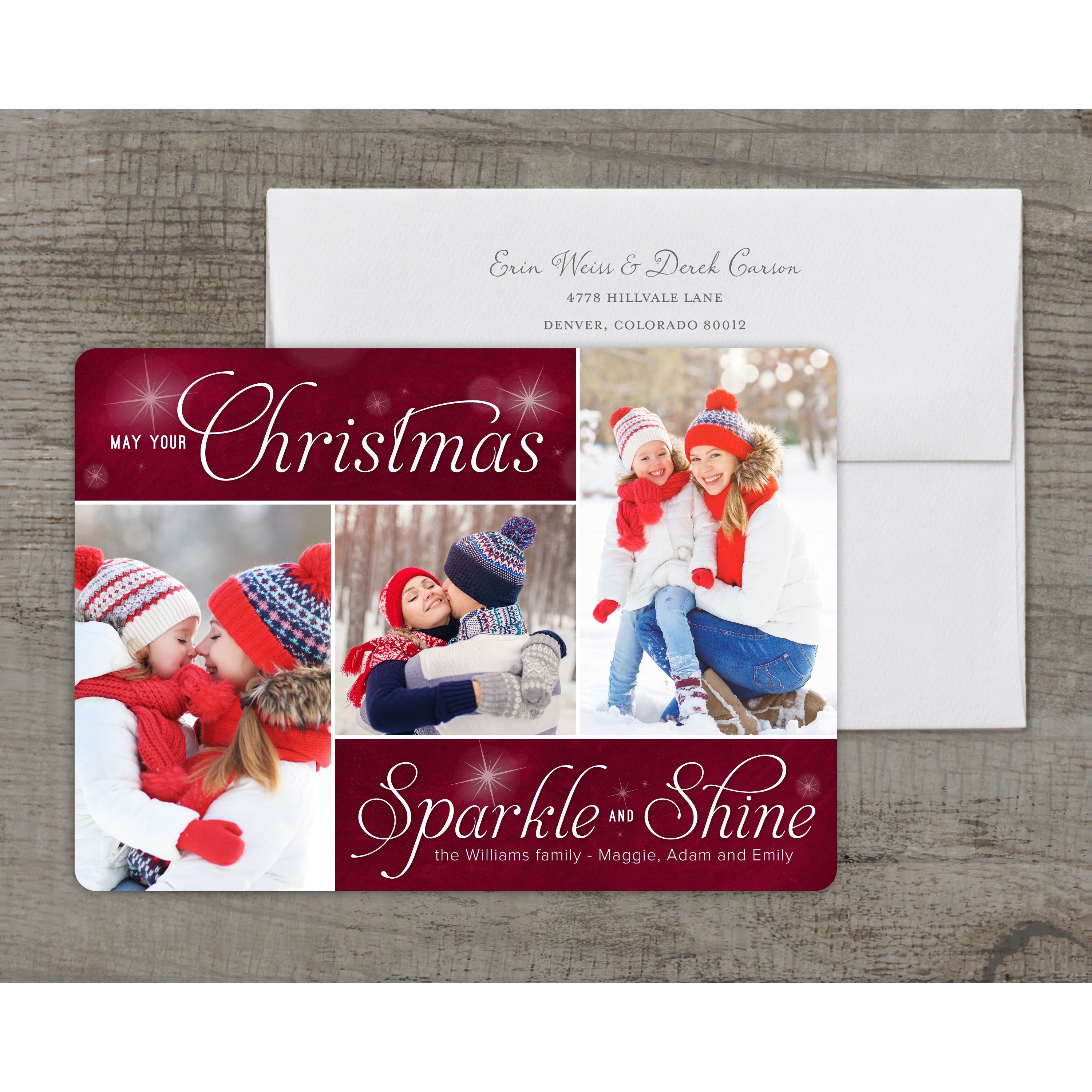 Sparkle and Shine - Deluxe 5x7 Personalized Holiday Christmas Card
