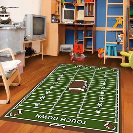 Football Feild Ground Kids Football Rectangle Area Rug Size - Michigan State Spartans Football Rug