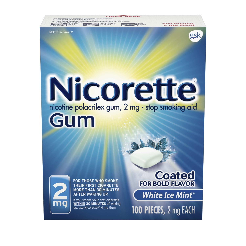 Nicorette Nicotine Gum, Stop Smoking Aid, 2 mg, White Ice Mint Flavor, 100 count