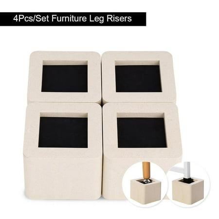 4Pcs/Set Furniture Riser,Pp Plastic Non-Slip Riser for Table Desk Bed Sofa Beige Color