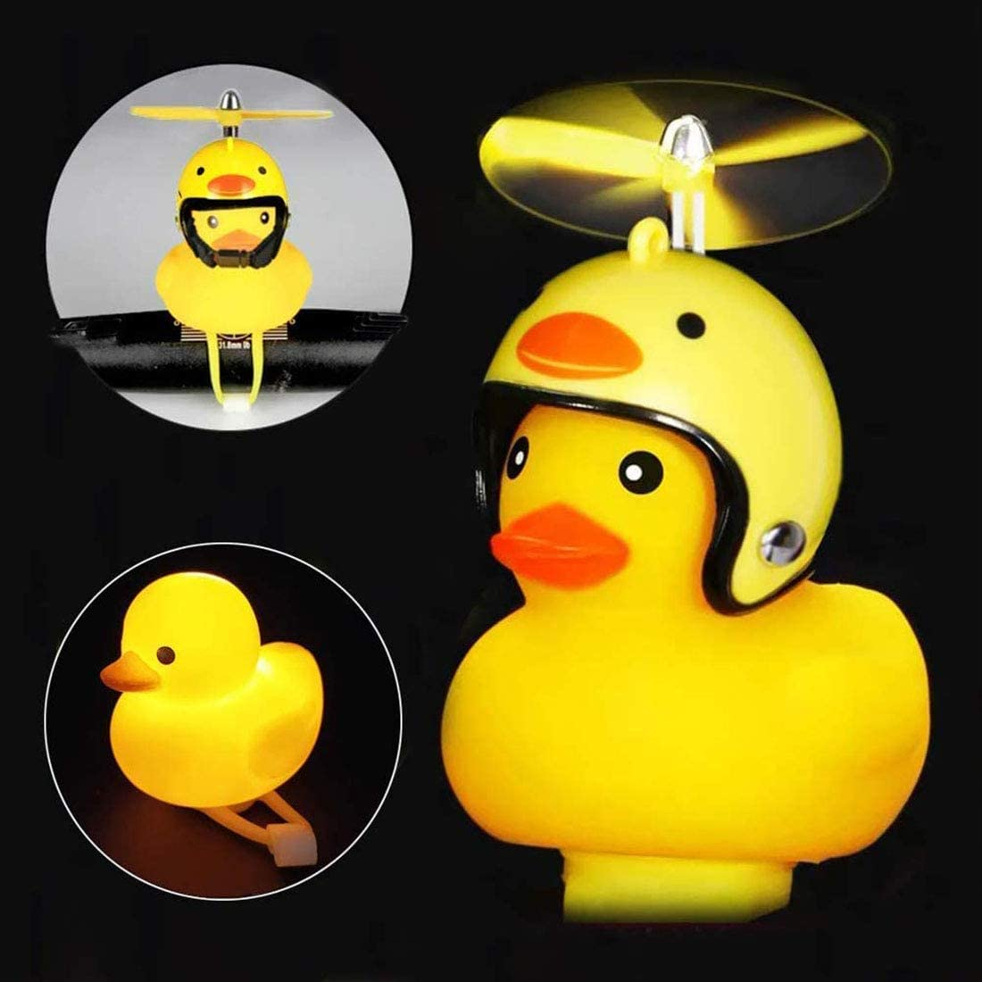 Cycling Light Cute Rubber Duck Toy for Toddler Kids Girls Boys Squeeze Horn Loud Quack Sound Toddler Bike Bells Bicycle Bell for Girls Duck Bicycle Horn with Bike Light Kids Bike Bell
