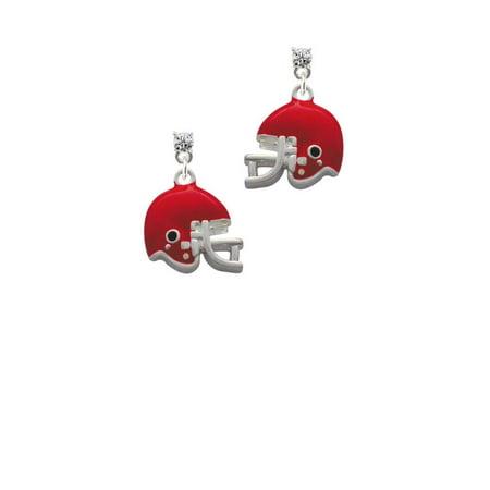 Silvertone Small Red Football Helmet Clear Crystal Post Earrings