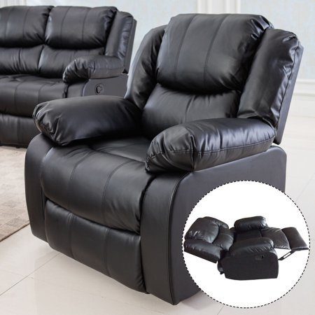 Awesome Costway Black Motion Sofa Loveseat Recliner Living Room Bonded Leather Furniture Single Gmtry Best Dining Table And Chair Ideas Images Gmtryco