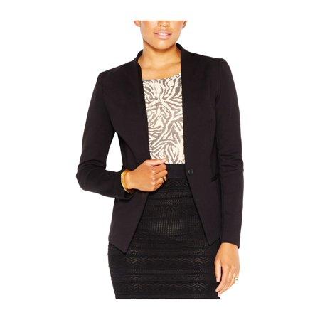 Rachel Roy Womens Collarless One Button Blazer Jacket black M - image 1 de 1