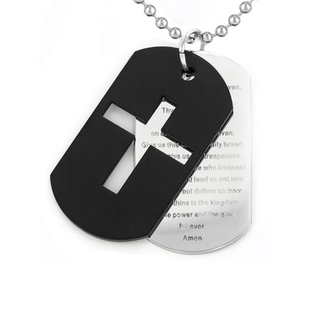 - West Coast Jewelry Crucible Stainless Steel Cross and 'Lord's Prayer' Dog Tag Pendant