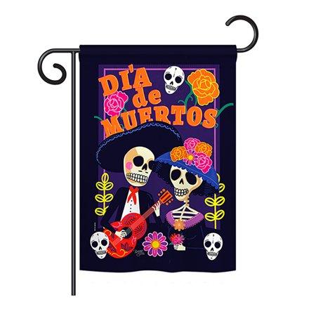 Breeze Decor - Dia de Muertos Couple Fall - Seasonal Halloween Impressions Decorative Vertical Garden Flag 13