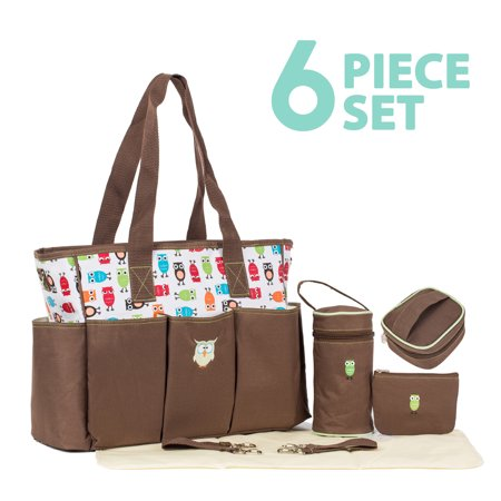 SoHo Collections, Deluxe Large Nappy Tote Diaper Bag with Stroller Straps, 6 Piece Complete Set, Soren - Owl Bags