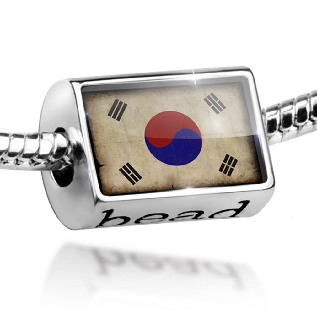 Bead South Korea Flag with a vintage look Charm Fits All European Bracelets by NEONBLOND