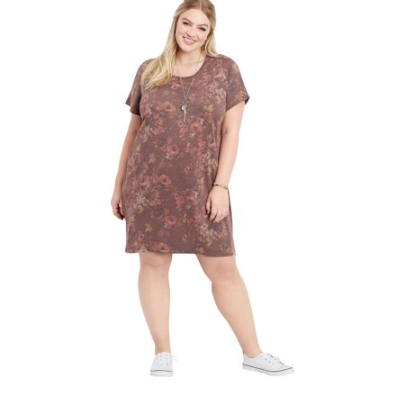 6a5c94d45c maurices - Plus Size Floral Short Sleeve T-Shirt Dress - Walmart.com