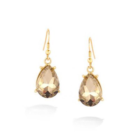 C Jewelry Gold-Tone Champagne Crystal Earrings - image 1 of 1