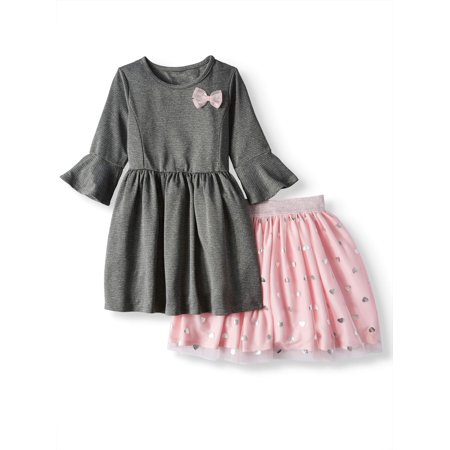 FOREVER ME Textured Knit Bow Dress & Tulle Tutu Skirt, 2-Piece 2-in-1 Outfit Set (Little Girls) - Party Dresses For Girls 7 14
