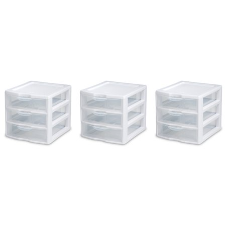 Short Countertop Unit (Sterilite Wide Portable Countertop 3-Drawer Desktop Storage Unit, 3-Pack )