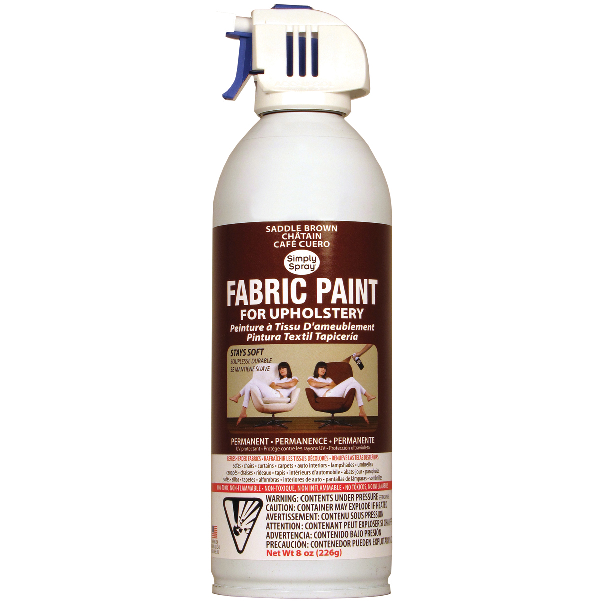 Deval Products Upholstery Spray Fabric Paint, 8-Ounce, Saddle Brown Multi-Colored