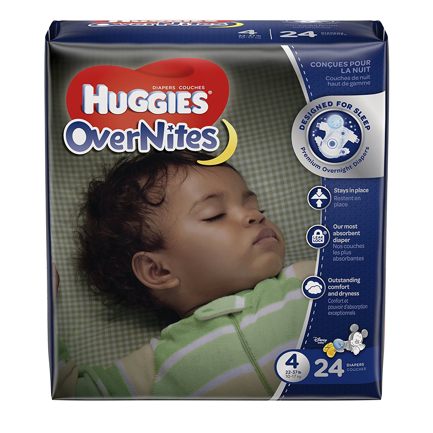 OverNites Diapers, Size 4, 24 ct., Overnight Diapers, Designed for sleep, and a sounder sleep for baby is guaranteed or your money back* By HUGGIES Ship from US