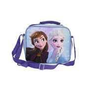 """Disney Frozen II Insulated Lunch Bag Anna Elsa Sisters 9"""" With Shoulder Strap"""