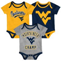 West Virginia Mountaineers Newborn & Infant 3-Pack Champ Bodysuit Set - Gold/Navy/Heathered Gray
