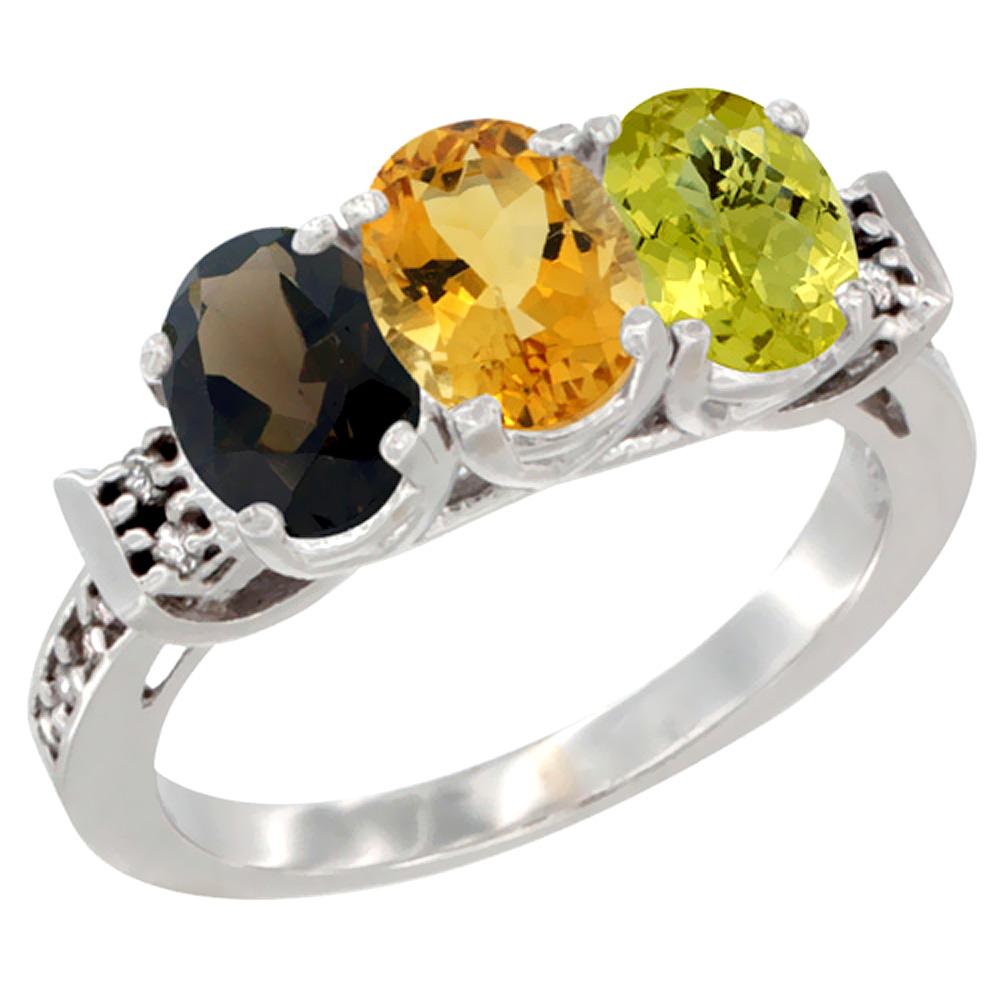 10K White Gold Natural Smoky Topaz, Citrine & Lemon Quartz Ring 3-Stone Oval 7x5 mm Diamond Accent, sizes 5 10 by WorldJewels