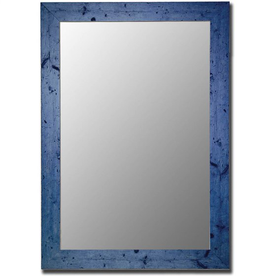 Blue Mirror w Rectangular Wood Composite Frame - Cameo Series (34 x ...