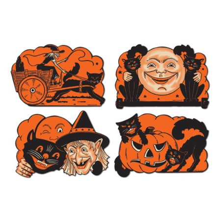 Retro Vintage Halloween Cutouts 9 inch - 4 per pack - Party Decoration - Halloween Decorations For Home Party