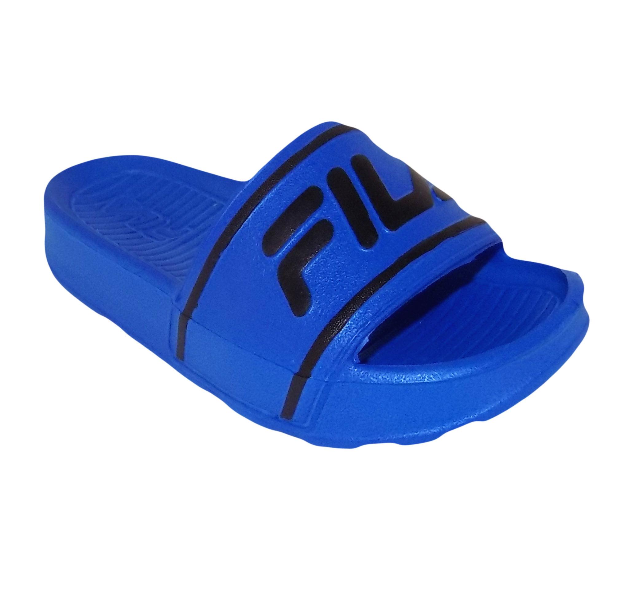 Fila Sleek Slide ST Little Boys Blue Athletic Sport Slide Sandals (11 US Little Kid) by