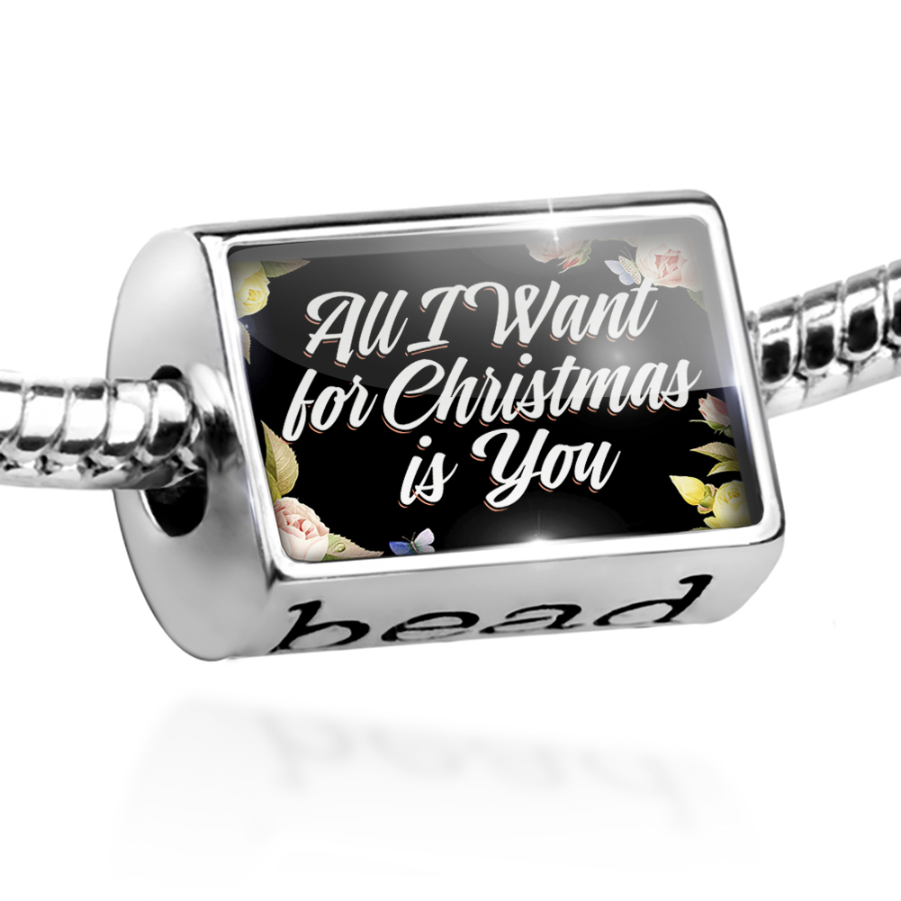 Bead Floral Border All I Want for Christmas is You Charm Fits All European Bracelets