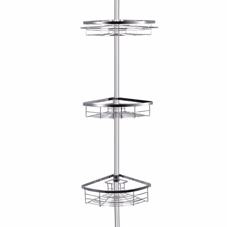 - Lifewit Corner Shower Caddy 3 Tier Adjustable Bathroom Constant Tension Corner Pole Caddy Free Standing Shower Caddies for Shampoo, Conditioner, Soap