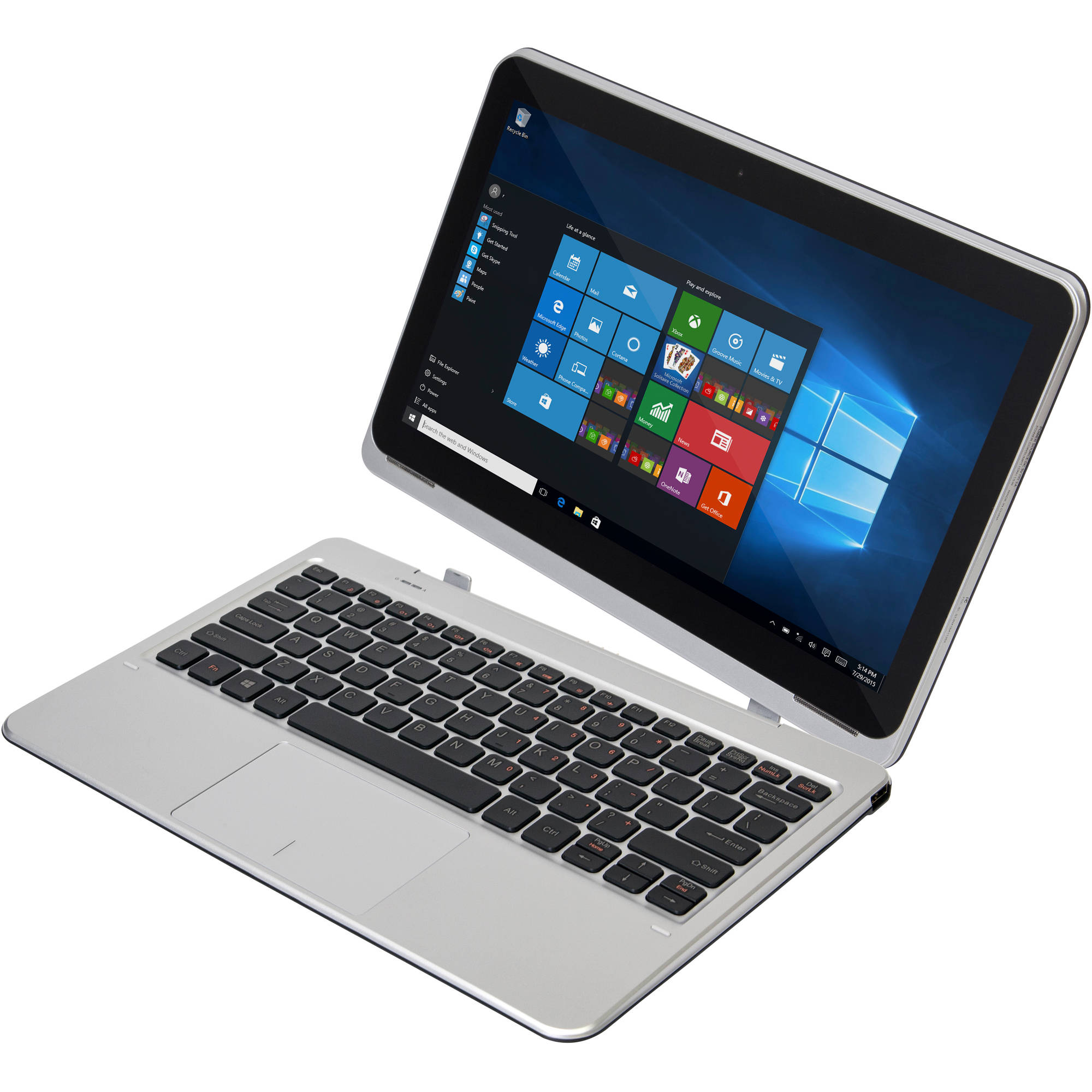 "Nextbook Flexx 11A with WiFi 11.6"" Convertible Touchscreen Tablet PC Featuring Windows 10 Operating System, Silver"