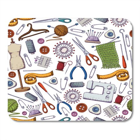JSDART Collection Accessory of Tools for Needlework and Sewing Equipment and Accessoriesy Colorful Sketch Button Mousepad Mouse Pad Mouse Mat 9x10 inch - image 1 of 1