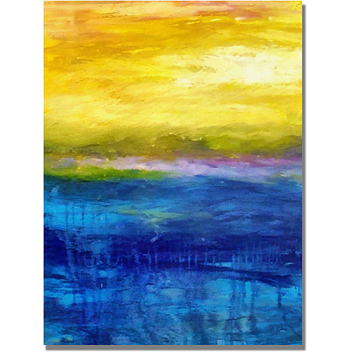 """Trademark Fine Art """"Gold and Pink Sunset"""" Canvas Art by Michelle Calkins"""