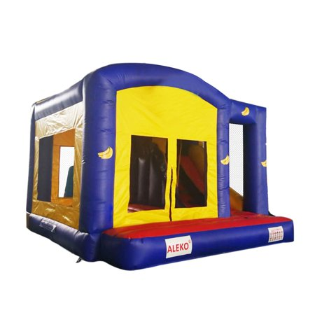 ALEKO Commercial Grade Bounce House with Basketball Hoop, Slide, Climbing Wall and Blower - Blue and Yellow Banana - Slime Basketball