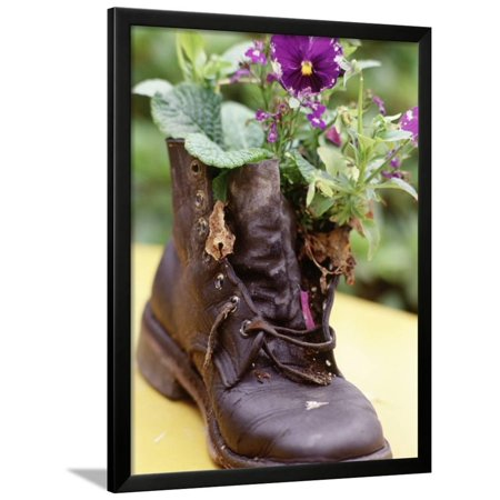 Flower Boot, Country Village Shops and Cafes, WA Framed Print Wall Art By Jim Corwin ()