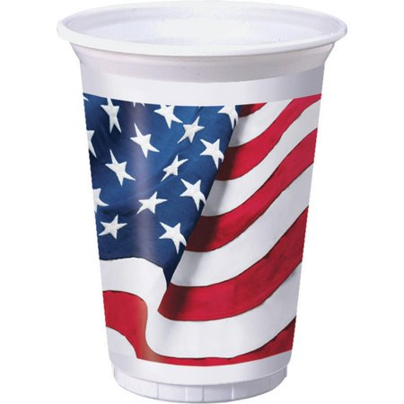 Freedoms Flag 16 oz Plastic Cups, 8 pack 16 Oz White Plastic Cups