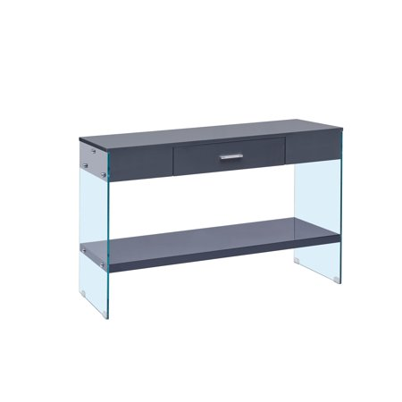 Console Table with Drawer & Glass Legs, High Gloss Finish