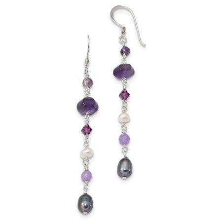 Lavender Jade And Pearl (Solid 925 Sterling Silver FWCult.Simulated Pearl (Grey & White)/Amy/Lavender Simulated Jade Shep. Hook Earrings (7.5mm x 74mm) )