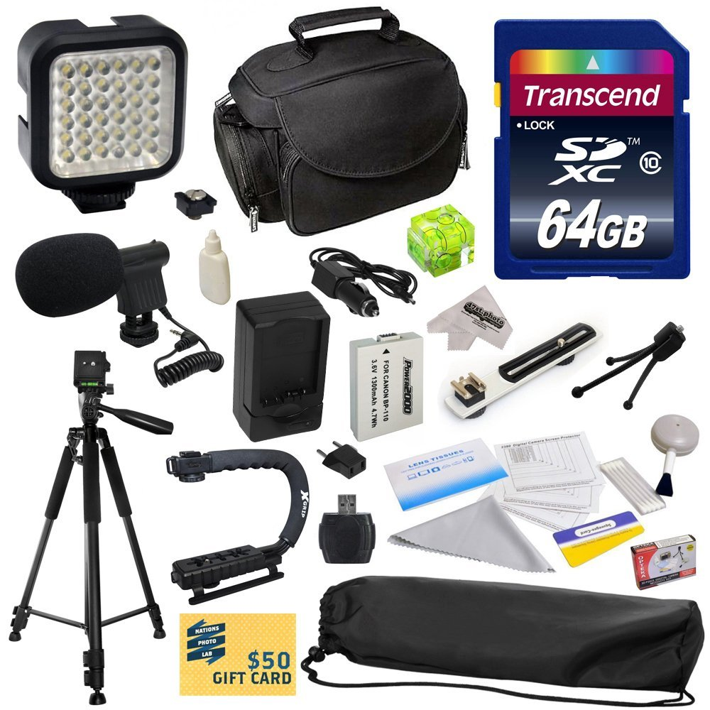 Advanced Accessory Kit for Canon HF R20 R21 R26 R27 R200 R205 R206 HFR20 HFR21 HFR26 HFR27 HFR200 HFR205 HFR206 with 64GB SDHC Card +  Battery + Charger + Case + Tripod + Action Handle + More