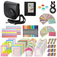 Xpix Accessory Kit for Fujifilm Instax Mini 8, 8+ 9 includes, (Black) Case, Album, selfie mirror, colored close up Lenses, 40 film frames, 12 color markers & Complete Bundle