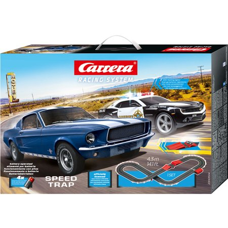 Carrera Battery Operated 1:43 Scale Speed Trap Slot Car Race Track Set w/ Jump Ramp featuring Ford Mustang versus Chevrolet Camaro Sheriff