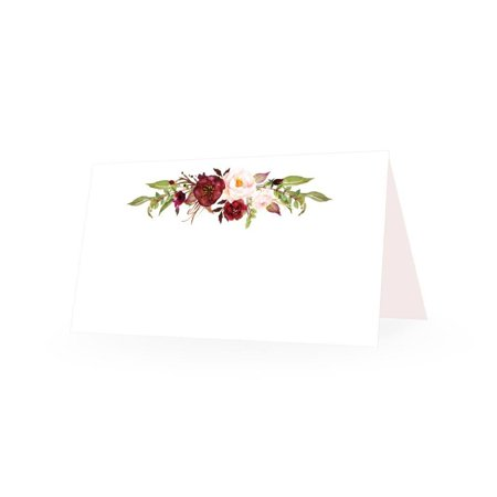 Place Setting Cards (25 Elegant Peonies Floral Tent Table Place Cards For Wedding Thanksgiving Christmas Holiday Easter Catering Buffet Food Sign Paper Name Escort Card Folded Number Seat Assignment Setting Label)