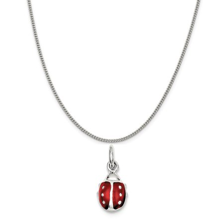 Bug Necklace (Sterling Silver Red Enameled Lady Bug Charm on a Sterling Silver Curb Chain Necklace,)