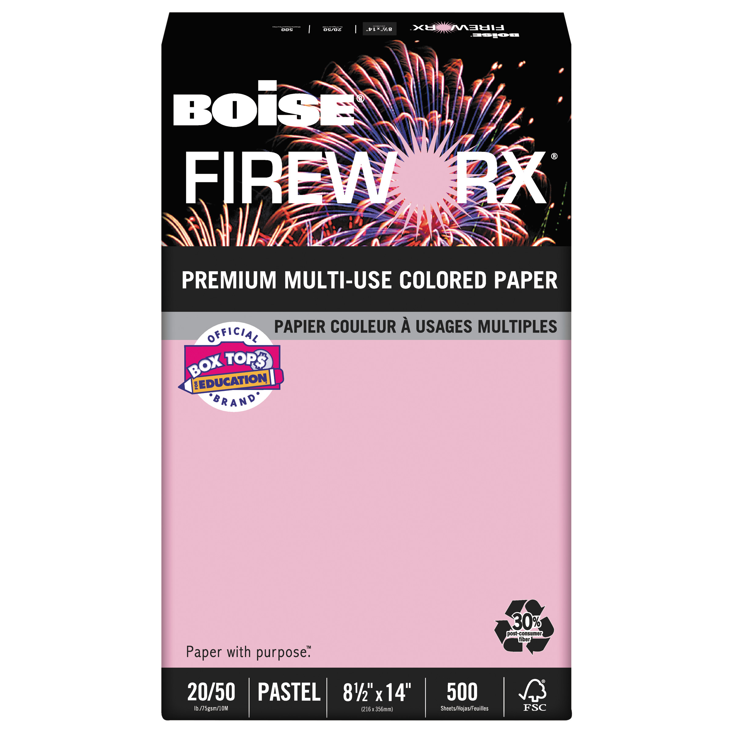 Boise FIREWORX Colored Paper, 20lb, 8-1/2 x 14, Powder Pink, 500 Sheets/Ream -CASMP2204PK
