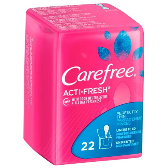Carefree Acti-Fresh Body Shape Thin To Go Unscented Pantiliners- 22 CT
