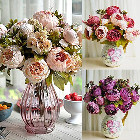 ZeAofa 1 Bouquet 8 Heads Artificial Peony Home Wedding Faux Silk Simulation Flowers (Antonia Flowers)