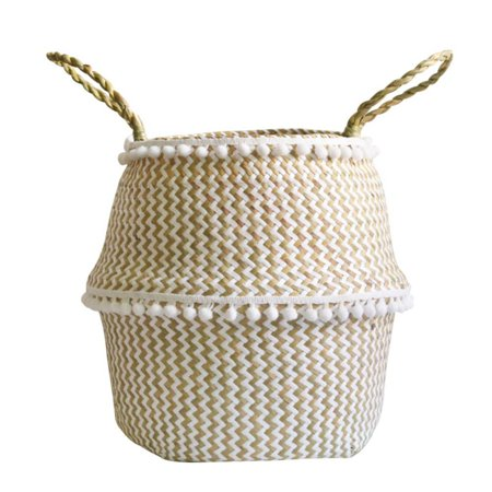 Foldable Handmade Folding Wicker Grass Weaving White Pattern with Small Plush Balls Flower Basket, Storage Basket for Storing Cosmetics, Dirty Clothes ()