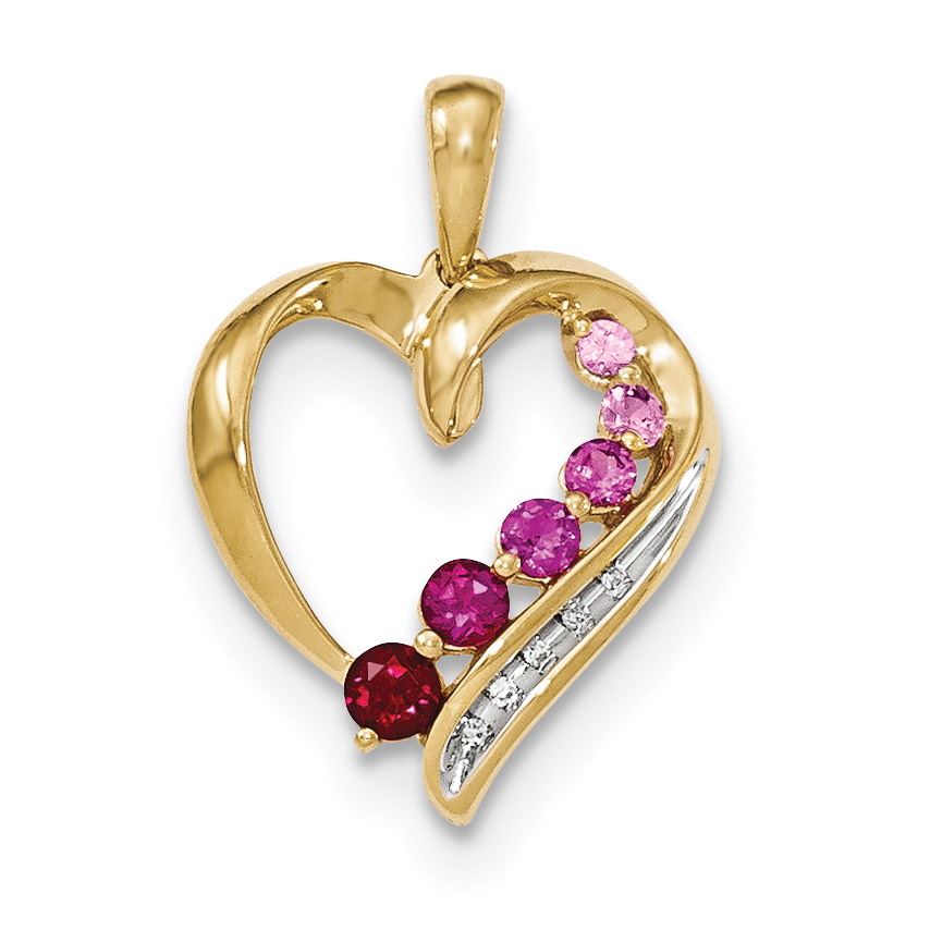 14K Lab Created Pink Sapphire Lab Created Ruby & Diamond Heart Pendant by Core Gold