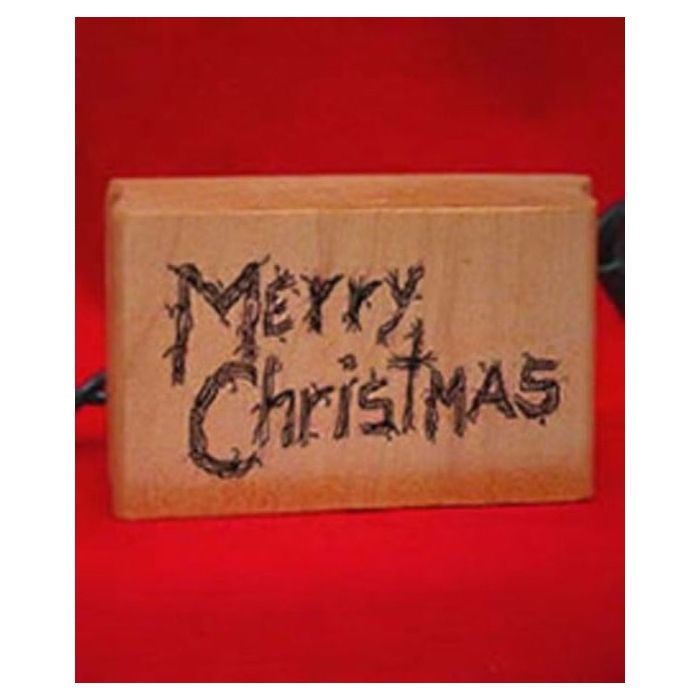 Merry Christmas Rubber Stamp Mounted Wood Block Art Stamp