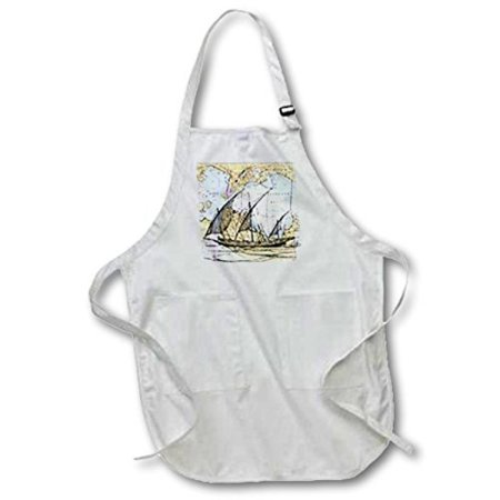 3dRose Print of San Francisco Bay With Ghost Ship, Full Length Apron, 22 by 30-inch, White, With Pockets