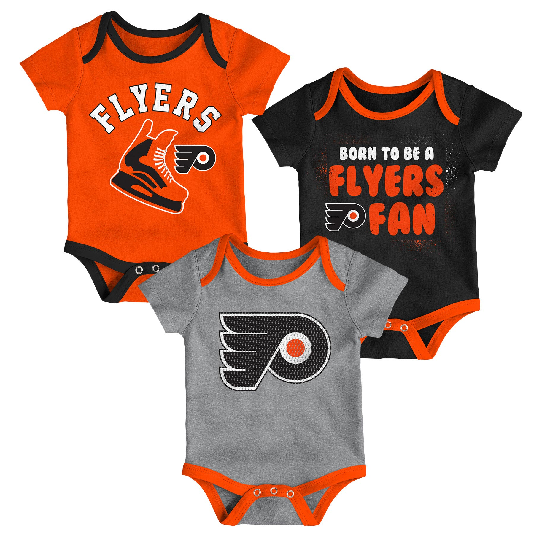 Philadelphia Flyers Newborn Even Strength 3-Piece Creeper Set