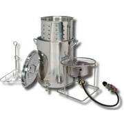 King Kooker #SS1267BSP - 30-Quart Stainless Steel Outdoor Cooker Pot with Spigot and Basket Package